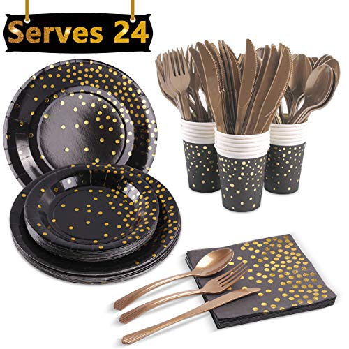 Black and Gold Party Supplies, Serves 24 - Gold Foiled Polka Dot Disposable Dinnerware Set for Graduation, Birthday, Anniversary, Bachelorette Party