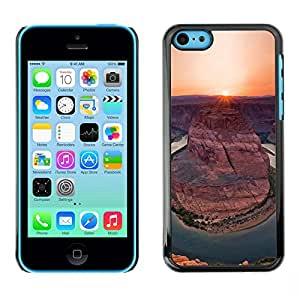 LASTONE PHONE CASE / Carcasa Funda Prima Delgada SLIM Casa Carcasa Funda Case Bandera Cover Armor Shell para Apple Iphone 5C / Cool Canyon Sunset Sunrise Sun Desert