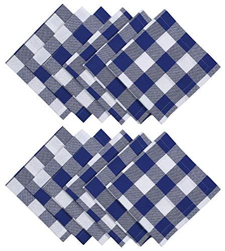 Dinner Napkins In Plaid Check Fabric-18x18 Ink Blue White,Wedding Napkins,100% cotton napkins,Cocktail Napkins,Cloth Napkins,Fabric Napkins,Cloth Napkins Set of 12,Check Cloth Napkins,Machine Washable