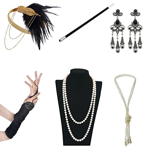 1920s Accessories Themed Costume Mardi Gras Party Prop Additions To Flapper Dress (D) (Prohibition Attire)