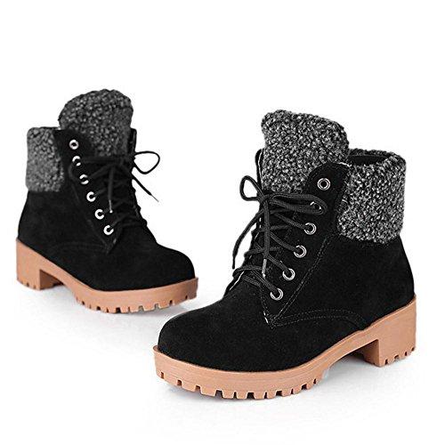 RAZAMAZA Women Boots Lace Up Black XQbCit