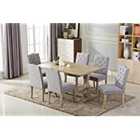 Antique 7-piece Dining Set with two pedestal Legs table and Six Studded Buttoned (Tufted) Light Gray/Grey Chairs