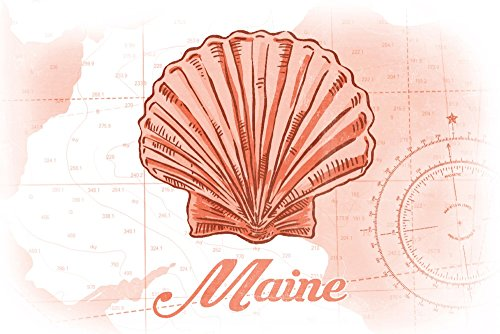 Maine - Scallop Shell - Coral - Coastal Icon (24x36 SIGNED Print Master Giclee Print w/Certificate of Authenticity - Wall Decor Travel Poster)