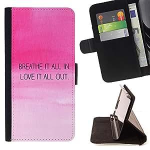 BullDog Case - FOR/HTC One M8 / - / breath love quote motivational pink sky /- Monedero de cuero de la PU Llevar cubierta de la caja con el ID Credit Card Slots Flip funda de cuer