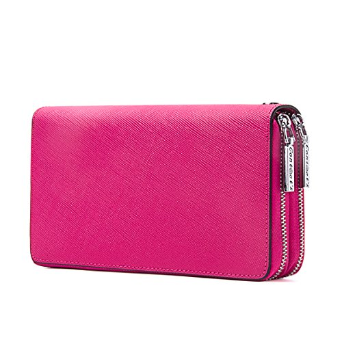 Contacts Womens Genuine Leather Car Key Double Zipper Case Clutch Purse Wallet Wristlet Rose Red