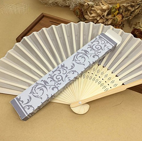Beige 50Pcs/Lot Printed Fan In Gift Box (Gold; Silver) Cloth Folding Hand Fan Wedding Gifts For Guests by Hand Fan