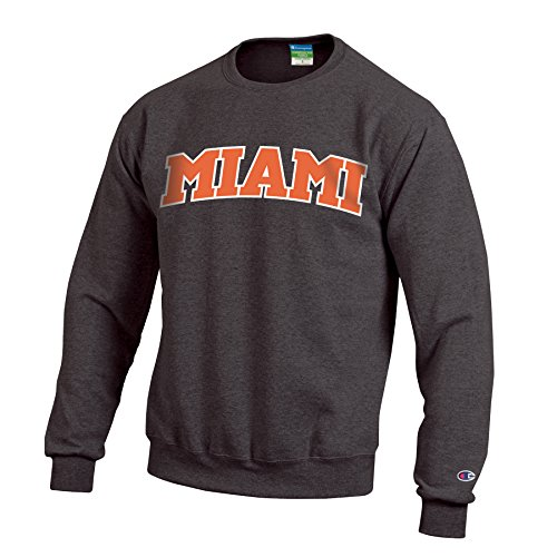 Champion NCAA Miami Hurricanes Men's Eco Powerblend Crew Neck Sweat Shirt, Medium, Granite ()