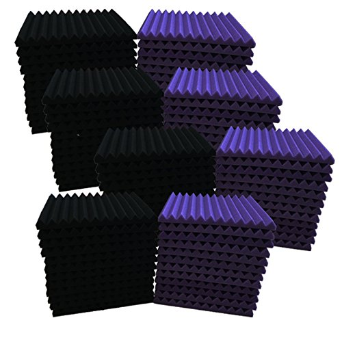 96 Pack purple/BLACK Acoustic Foam Panel Wedge Studio Soundproofing Wall Tiles 12