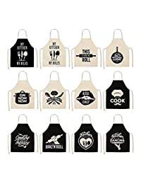 ManY Black and White Pattern Aprons Kitchen Aprons for Woman Home Decor Cotton Linen Sleeveless Apron Cooking Baking Waist Bib Tool (Color : 009, Size : 38CMX47CM)