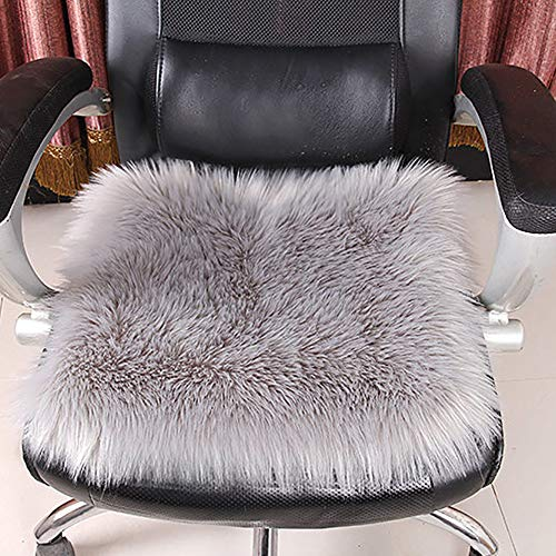 Square False Fur Sheepskin Seat Cushion, Home Decor Plush Area Rugs, Soft Fluffy Chair Seat Pads for Home Office Restaurant Chair-Gray 30x30cm(12x12inch) from D&LE