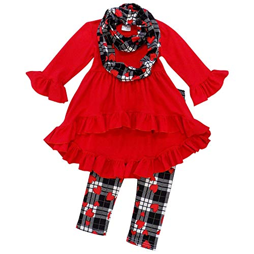 So Sydney Toddler Girls 3 Pc Valentine's Day Heart Print Holiday Outfit & Scarf (2T (XS), Plaid Red Heart Hi Lo)