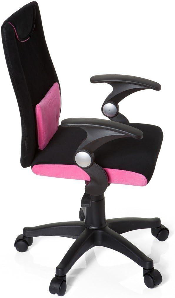 Hjh OFFICE 670450 Silla para niños KIDDY PRO AL tela negro rosa silla escritorio