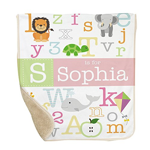GiftsForYouNow Alphabet Personalized Sherpa Blanket for Baby Girl Abc Baby Blanket