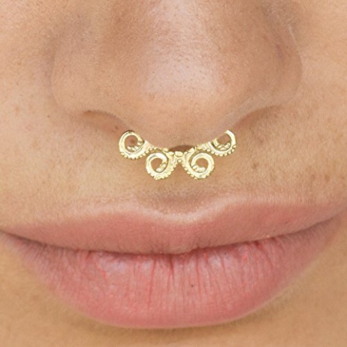 Septum Ring, Nose Ring, Indian Tribal 14K Yellow Gold Hoop Septum, Cartilage, Helix, Tragus Earring, Octopus Piercing, Handmade Piercing Jewelry by Alagia