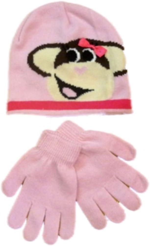 ABG Accessories Girls Pink Monkey Hat /& Gloves Beanie Stocking Cap