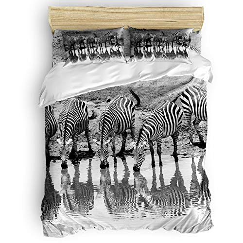 - LUSWEET 4 Pcs Duvet Cover Sets A Group of Zebras are Drinking Water Bedding Set with Soft Lightweight Microfiber 1 Duvet Cover 1 Bed Sheet 2 Pillowcase, Full Size