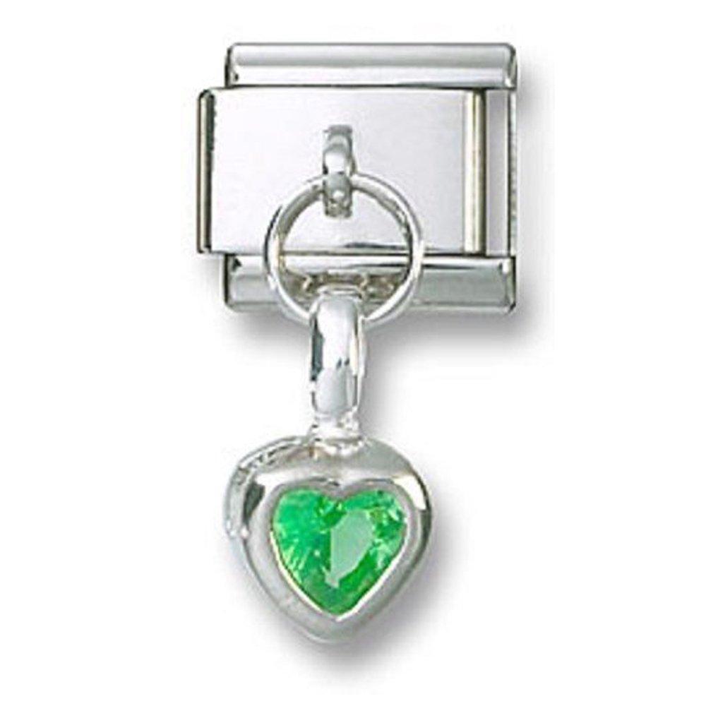 Italian Charm Dangle Birthstone Heart CZ Sterling Silver August