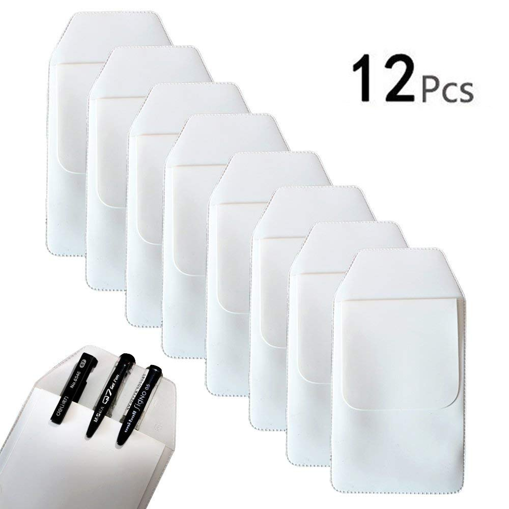 TKOnline 12 Pcs White Classical Heavy Duty Pocket Protectors for Pen Leaks School Hospital Office Supplies
