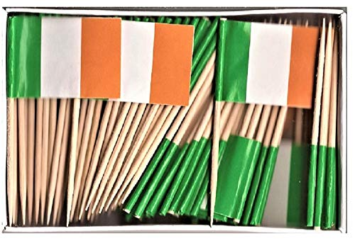 1 Box Mini Ireland Toothpick Flags, 100 Small Mini Irish Flag Cupcake Toothpicks or Cocktail Sticks & Picks (1 Box)]()