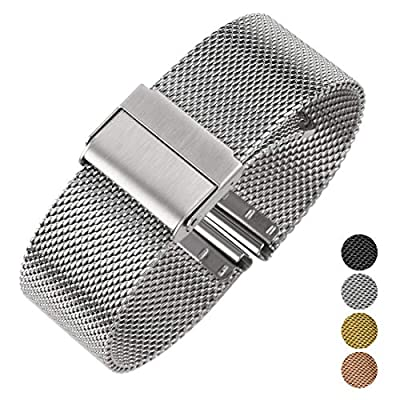 Luxury High-end Fashion Watch Mesh Band Metal Milanese Strap Deluxe Replacement Bracelet for Watch with Solid Safety Folding Clasp, 316L Stainless Steel, for Men & Women