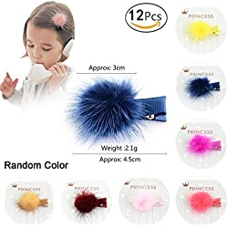 Hacloser 12 Pcs/set Baby Hair Clips for Infant, Korean Fur Ball Pom Pom Barrettes for Girls Toddler Hair Pin Decorative Cute Headwear For Kids Colorful