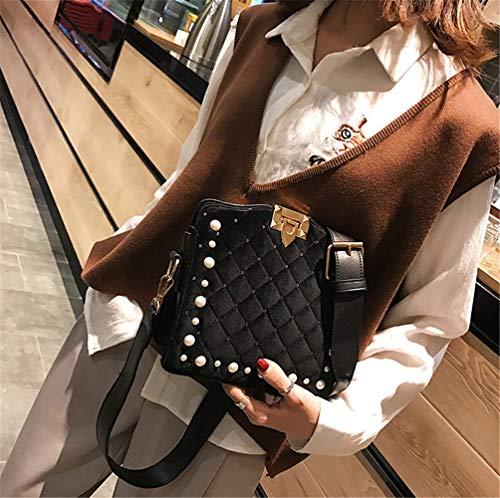 Bolso Bandolera Black La De Totes Bolsos Negro Para Mujer Perlas Moda A Con 5rq5w74