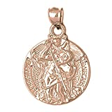 Rose Gold-plated Silver 33mm Saint Christopher Pendant Necklace