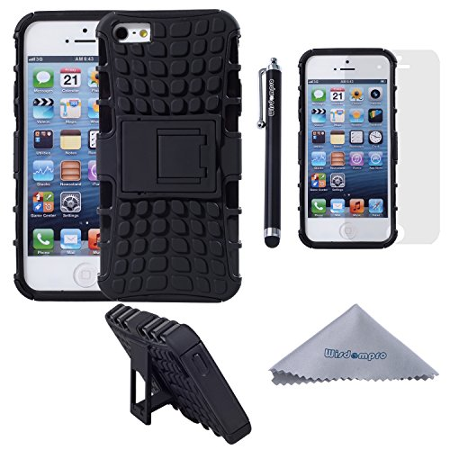 iPhone SE 5s 5 Case, Wisdompro [2 Piece in 1] Dual Layers [Heavy Duty] Hard Soft Hybrid Rugged Protective Case with [Foldable Kickstand] for Apple iPhone 5/5s/SE - Black/Black