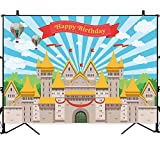 Allenjoy 7x5ft Castle Prince Birthday Party Backdrop Hot Air Balloons Blue Sky Clouds Boy Shower Cake Table Banner Photo Background Decorations Photobooth Props