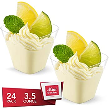 MINI WONDERS Heavy Duty Plastic Tall Square Single Serve Dessert Cups 3.5 oz. Clear Personal Shot Shooter Glasses 24 Count - Disposable Reusable Party Bowls