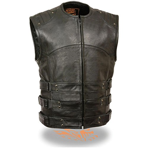 Milwaukee Leather Mens SWAT Style Leather Biker Vest with Gun Pocket - Large