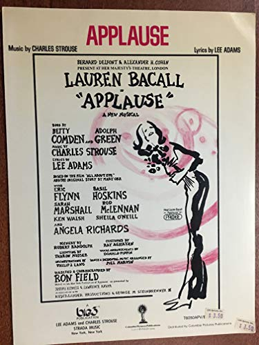 APPLAUSE (1970 Charles Strouse SHEET MUSIC) pristine condition from the show APPLAUSE with Lauren Bacall