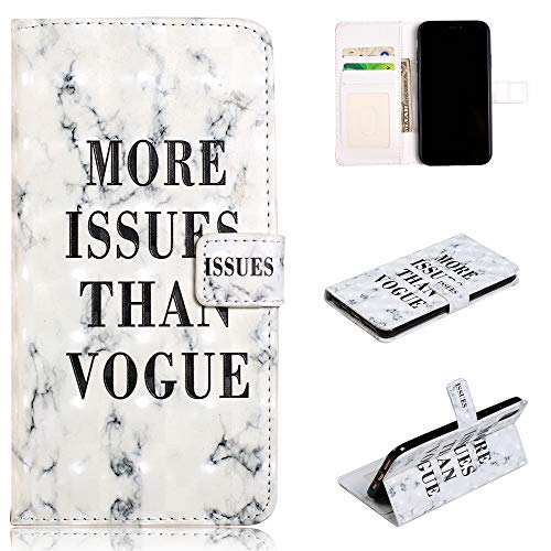 (Shinyzone Flip Wallet Case for iPhone Xs/iPhone X,Slim Leather [Stand Feature] Magnetic Pocket Cover with 3D Glossy Colorful Painting Pattern Protective Shell-Fashion White Marble)