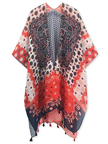 Spicy Sandia Swimsuit Cover ups for Women with Tassel Open-Front Kimono Cardigan with Red Vintage Floral Print Cover up