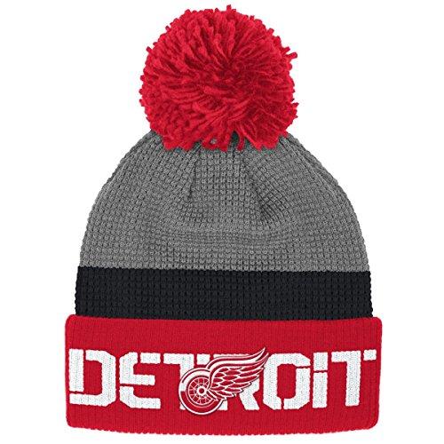 Hat Baseball Reebok - Detroit Red Wings Reebok NHL 2016 Center Ice Cuffed Knit Hat w/ Pom