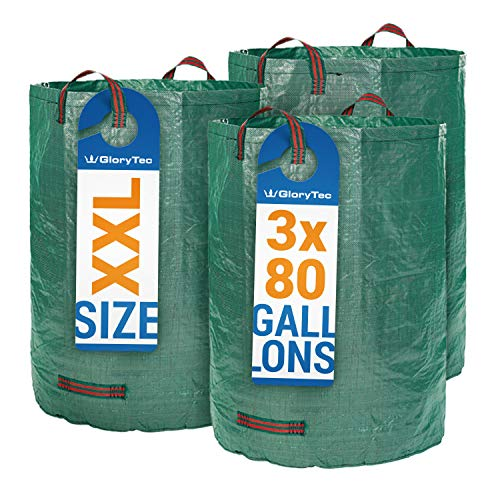 Glorytec 3-Pack 80 Gallons Garden Bag - Extra Large Reusable Leaf Bags - Comparative-Winner 2018 - Collapsible Gardening Containers for Lawn and Yard Waste - 4 Handles