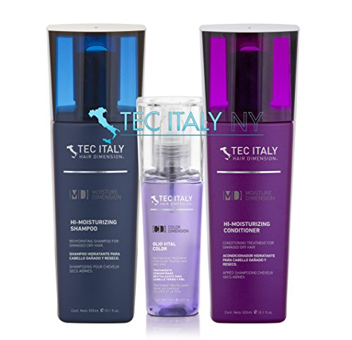 Tec Italy Moisturizing Pack: Hi Moisturizing Shampoo 10.1 Oz. + Hi Moisturizing Conditioner 10.1 Oz. + Olio Vital Color 4.2 Oz. ()