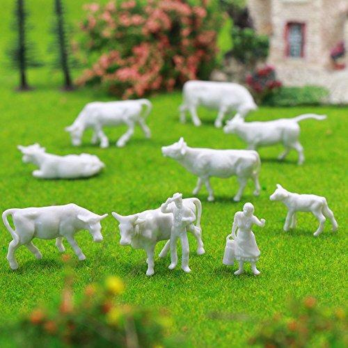 ファーム動物図おもちゃセット、an8705b未塗装ホワイトFiguresや牛ファーム動物の90pcs 1: 87HOスケールモデル列車景色レイアウトミニチュア新しい