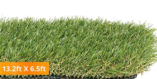 PZG Premium Artificial Grass Patch w/ Drainage Holes & Rubber Backing | 4-Tone Realistic Synthetic Grass Mat | 1.6-inch Blade Height | Lead-Free  Grass for Dogs or Outdoor Decor | Size: 13.2' x 6.5'