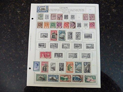 F84 Lot of Ceylon stamps 1872-1963 Hinged on 2 Minkus Album Page