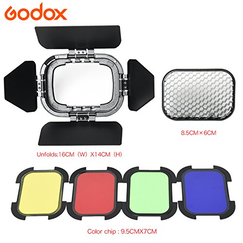 Godox BD-07 Barn Door with Detachable &Honeycomb Grid and 4 Color Gel Filters for Godox AD200 Pocket Speedlite Fresnel Flash Head by Godox