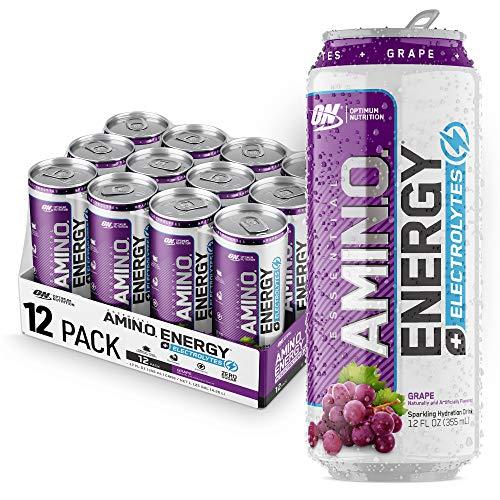 Optimum Nutrition Amino Energy + Electrolytes Sparkling Hydration Drink - Pre Workout, BCAA, Keto Friendly, Energy Powder - Grape, 12 Count
