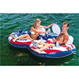 Intex River Run II American Flag Inflatable 2 Person Pool Tube Float