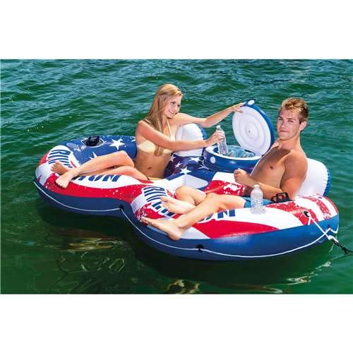 Intex 56855VM American Flag Inflatable 2 Person Pool Tube Float with Cooler (Best Inflatable River Rafts)