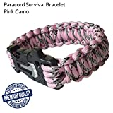 """Survival Bracelet Pink Camo Fire Starter for Camping and Hunting, Mertlin Emergency Paracord Survival Bracelet for Women, Survival Gear, Paracord 550, Buckle Whistle, Scraper/Knife, X-Small 7.8"""""""