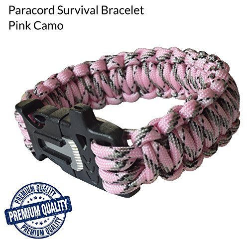 Paracord Survival Bracelet [Camping, Hunting, Fishing], Mertlin Survival Bracelet with Fire Starter, Emergency Whistle and Scraper/Knife, Paracord 550, Basic Survival Gear, Pink Camo, X-Small - Climbing El Capitan Yosemite