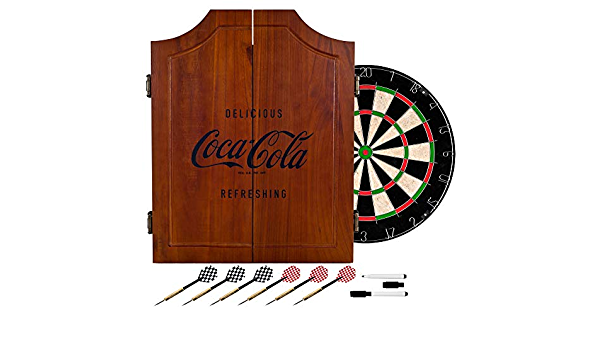 Amazon Com Coca Cola Collectible Vintage Wooden Dart Board Cabinet Brown Wood Kitchen Dining