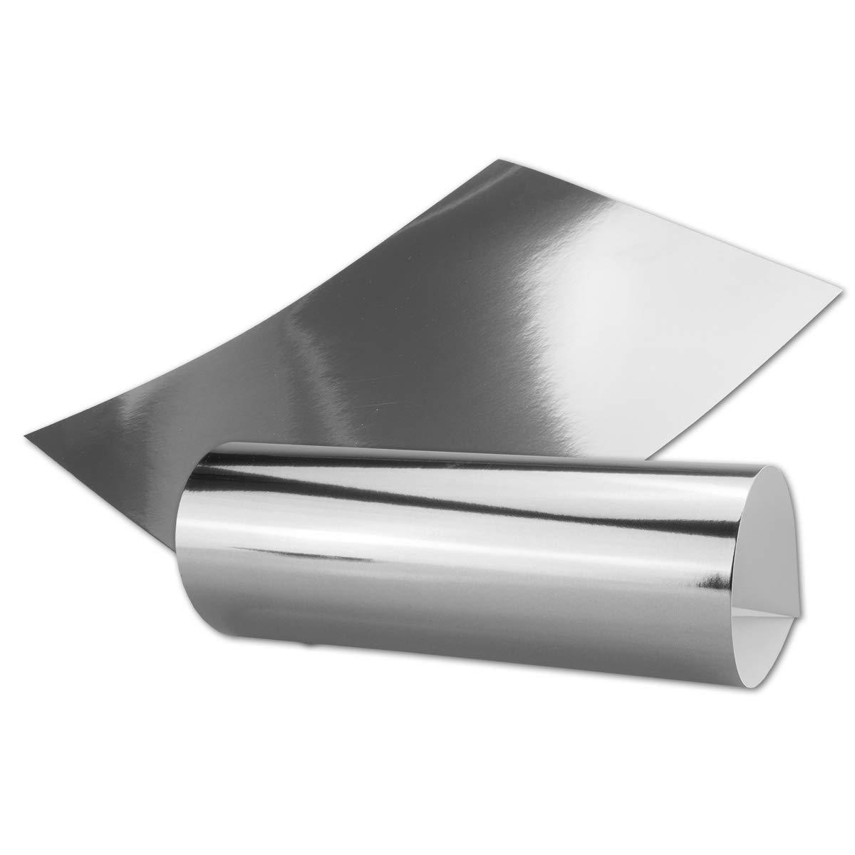 Silber Metall Spiegel Papier   50er-Set   Blanko glänzendes metallic Papier, spiegelnd silber   Rückseite Weiß und Bedruckbar   DIN A4 210 x 295 mm  in hochwertiger Geschenkschachtel Aufbewahrungsbox B07PHTNWD6 | Starker Wert
