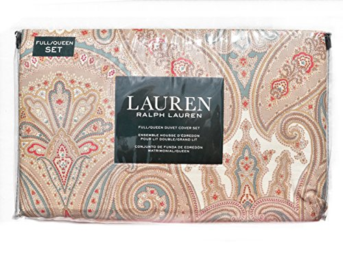 Ralph Comforter Queen Lauren (Ralph Lauren Red Taupe Beige Boho Paisley Print Full Queen 3pc Duvet Cover and Shams Set Vintage Bohemian Damask Medallion Bedding)