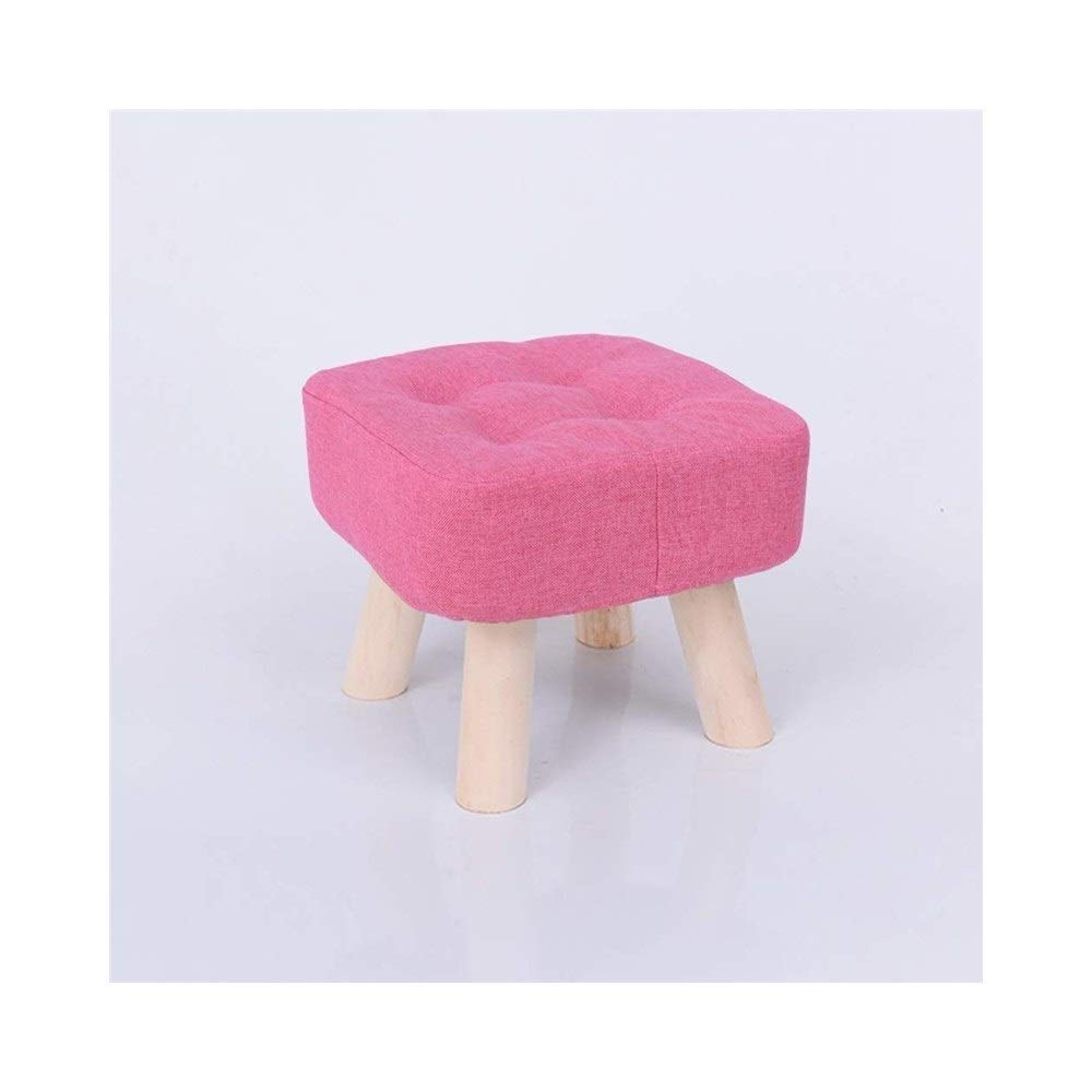 Pink Small Solid Wood Footstool Low Stool Fabric Small Bench Washable Small Chair Stool Home Adult Living Room Sofa Stool Multi-Function LEBAO (color   bluee, Size   Small)